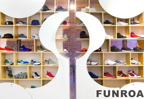 运动妇女零售mdf时装设计玻璃鞋陈列展示柜设计效果图