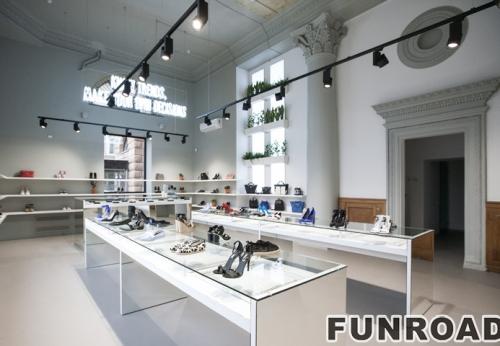 女现代鞋店玻璃陈列展示柜台设计