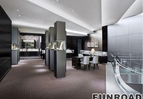 宁波实体珠宝品牌店订制珠宝展示柜台设计制作效果图