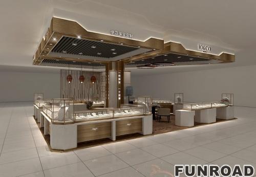 黄金珠宝高端木质烤漆定制款珠宝展示柜设计效果图