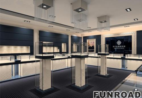 17款高端轻奢主题珠宝店展示柜台设计制作效果图