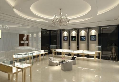 现代流向型珠宝木质烤漆新款珠宝店展示柜台陈列设计效果图