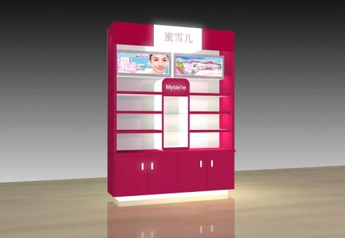 热销定制MDF美容化妆品展示柜/化妆品展示架/化妆品购物货架