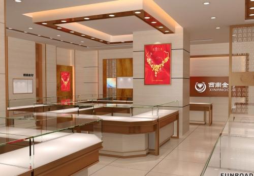 珠宝店高端玻璃烤漆珠宝展柜设计展示图