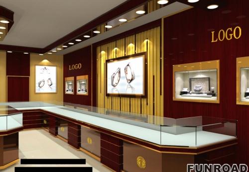 2018年新款凡路设计珠宝展柜展示效果图