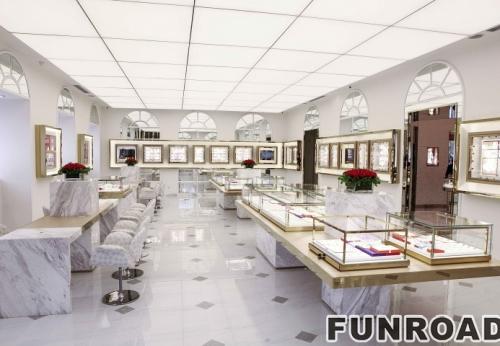 流向现代风格高端木质玻璃珠宝店展柜案例设计