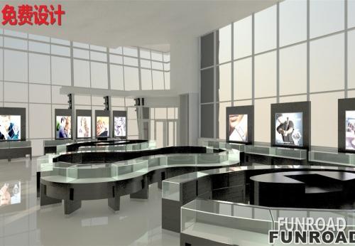 木质珠宝岛柜,珠宝店商业空间展柜设计案例