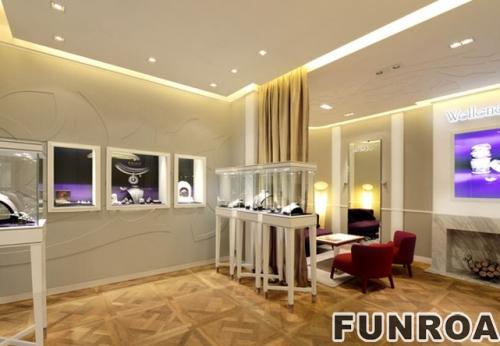 现代简约奢华木质烤漆珠宝店展柜制作设计案例