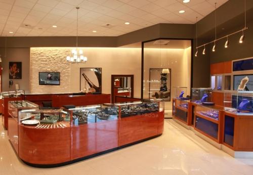 工厂定制零售商店木制珠宝展示柜,用于室内珠宝商业空间设计