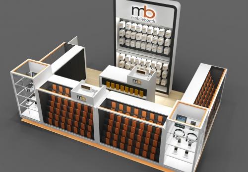 富路定制木眼镜移动电话配件展示柜,手机维修柜台