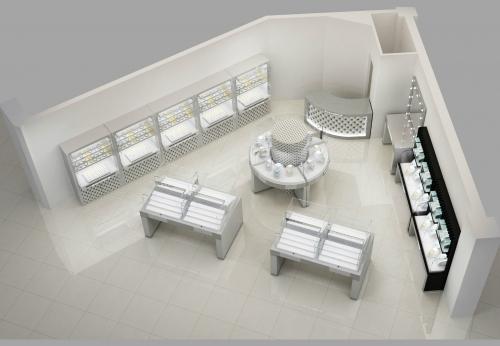 工厂定制的现代化珠宝商店室内设计,带有玻璃珠宝展示柜台