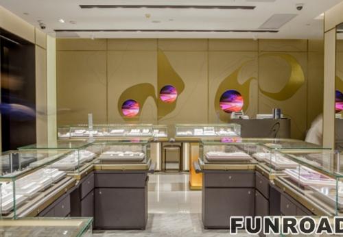 珠宝店整店加空间设计  木质烤漆烤漆珠宝陈列展柜效果图