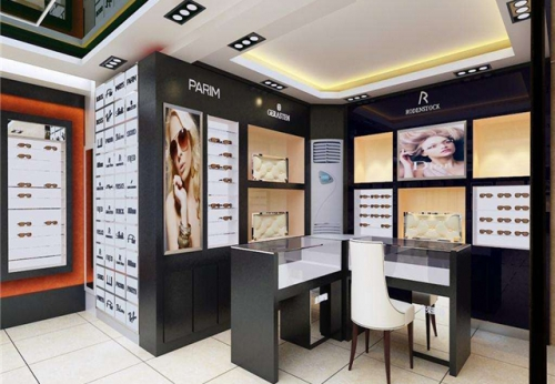 MDF壁挂式太阳镜架和用于光学储存室内设计制作的展柜效果图