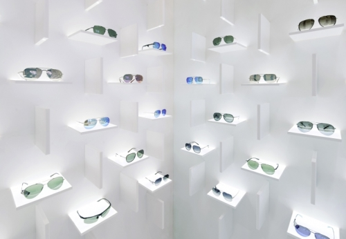 商店显示零售光学商店设计制作展示柜台案例效果图