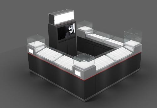 高级定制光学小站,为购物中心提供日光玻璃显示屏柜台