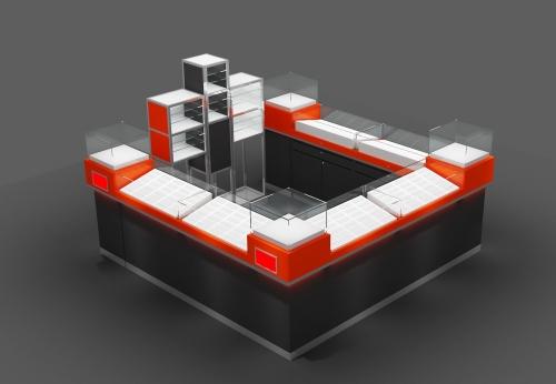 带钢化玻璃的木墨镜展示柜订制设计效果图