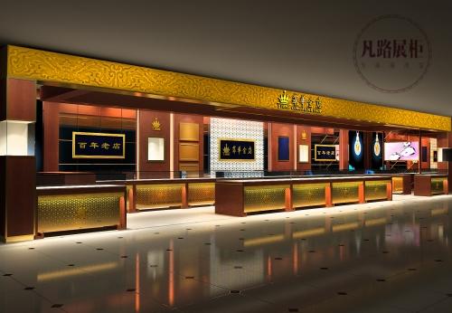 FUNROAD为萃华金店设计定做珠宝展柜案例效果图