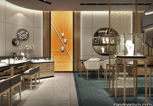 凡路展柜为老庙黄金珠宝店设计制作的珠宝展示柜案例效果图