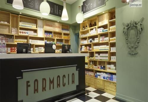 药店展示柜前台整体设计效果图
