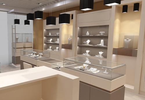 现代珠宝商店木制陈列柜和珠宝柜台出售