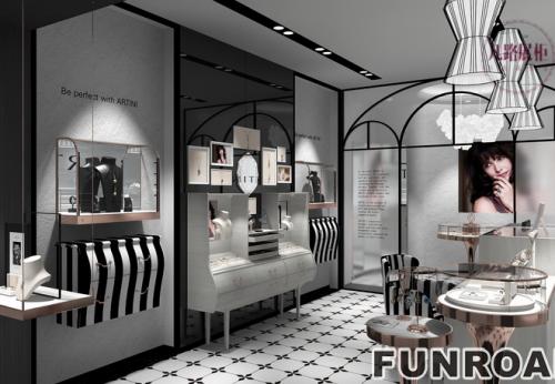 厦门客户定制设计珠宝店木质烤漆珠宝展示柜案例
