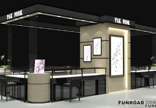 商场加盟店客户在凡路展柜厂定制的珠宝展示柜台案例效果图