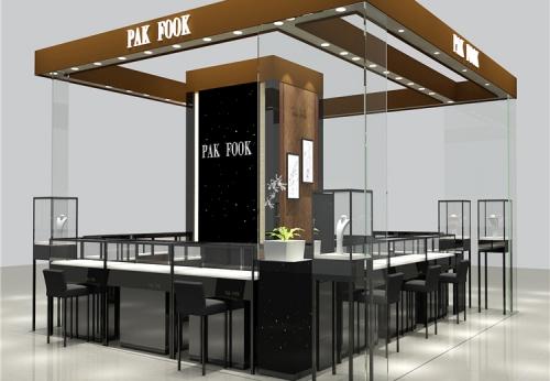零售木材和玻璃室内装饰家具展示柜台上的黄金首饰亭在商场设计中
