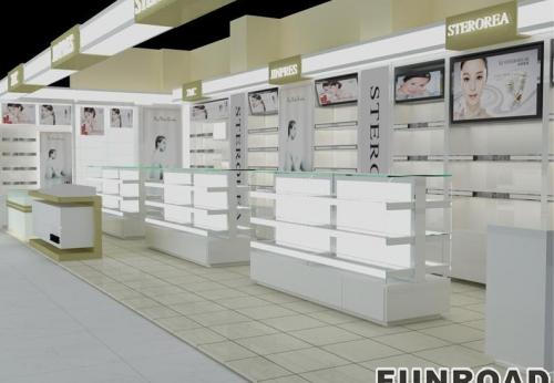 商场高品质化妆品陈列柜化妆品展示柜展示设计和制造