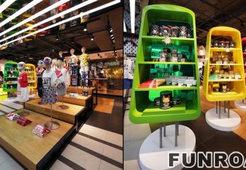 木制手提箱货架展示柜展示货架专业设计店铺展柜