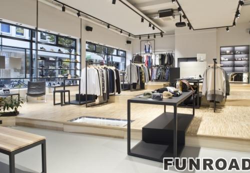 男士服装店壁挂式展示柜陈列柜,配有木制挂架