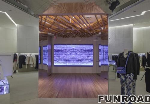 服装旗舰店定制高端白色木质展示架展示柜