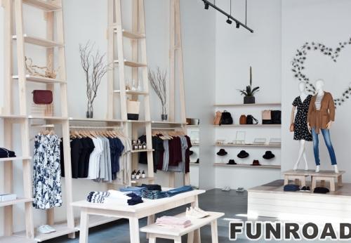 品牌儿童服装店展柜设计定制彩绘白色MDF商业展示柜
