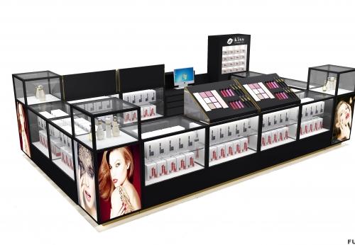 零售店化妆口红防火木角玻璃墙展示柜LED橱柜化妆品展示商场报亭