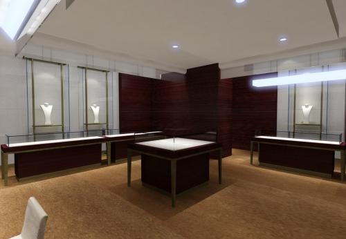 珠宝商店首饰店设计珠宝柜台现场效果图