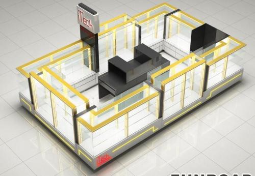 funroad展柜定制的设计手机配件在商场里的展示亭