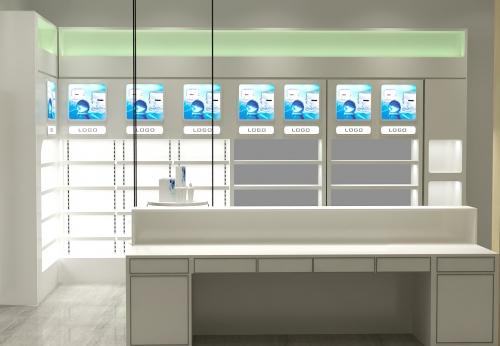 深圳展柜厂定制,高品质的药房玻璃展示柜效果图