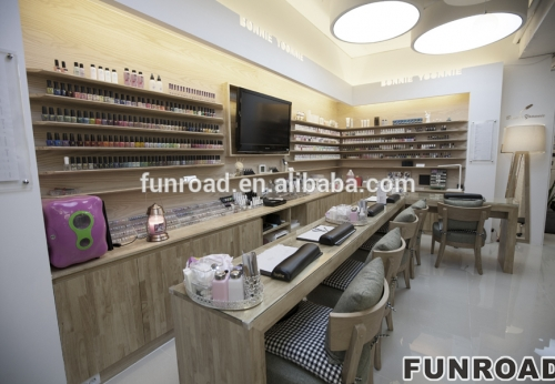 Beauty Women Business For Nail Bar Store With Natural Bamboo Furniture