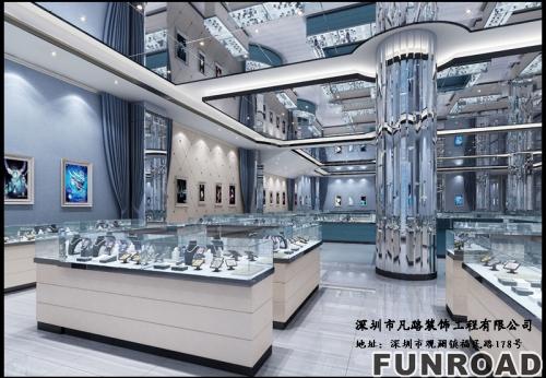 2018凡路展柜厂定制珠宝展柜,在高端的场地摆放效果