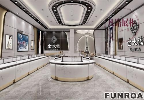 金大福大品牌在凡路展柜厂定制,高端珠宝展柜