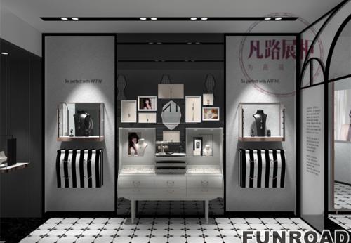 金属珠宝展柜现场效果图,老品牌展柜厂定制