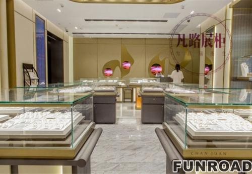 深圳展柜厂定制珠宝,现场展示真实效果