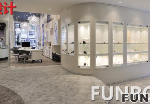 木质+玻璃定制珠宝展柜,展示柜实际效果图