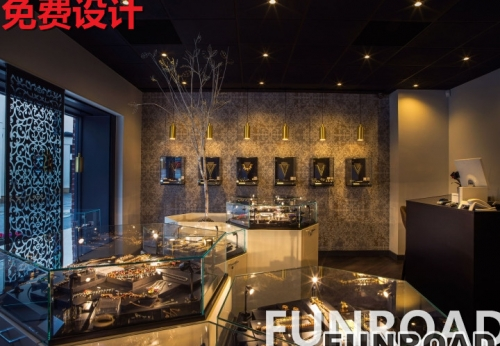 展柜厂制作烤漆+多边形玻璃的珠宝展柜
