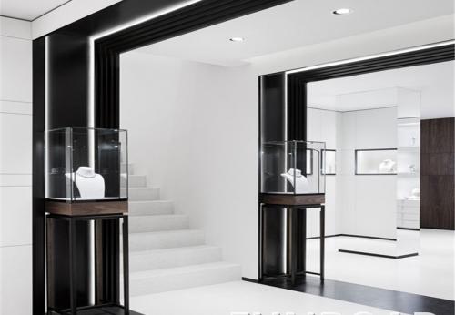 复古木质玻璃珠宝展柜,凡路专业定制展柜