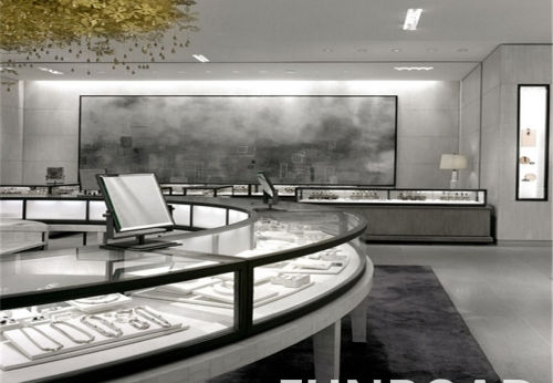 Funroad定制玻璃珠宝展示柜,现场摆设效果