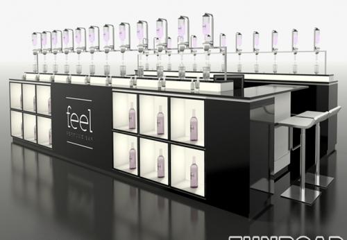 展柜公司设计师设计,漂亮的香水化妆品售货亭
