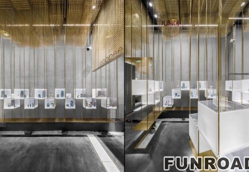 漂浮的金色云朵-奢侈品展展柜