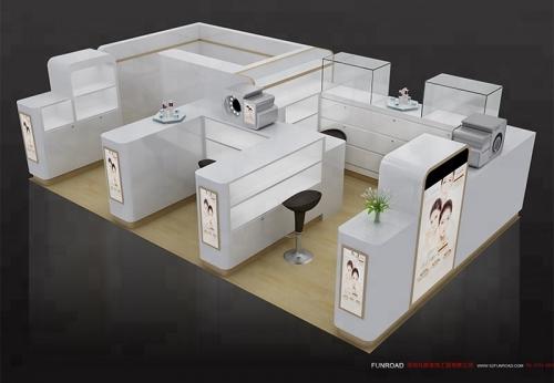 定制的商场木制展示柜化妆品亭