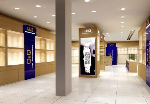 豪华手表店展示柜台设计带LED灯