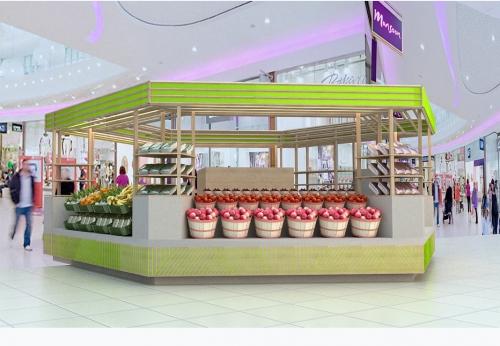 食品和饮料展示亭,商场购物中心的食品亭展示